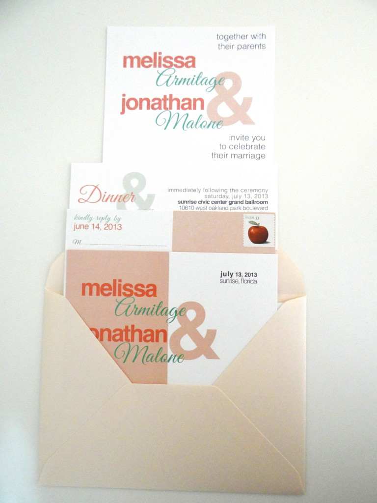 Wedding Invitation Design South Florida Coral and Teal
