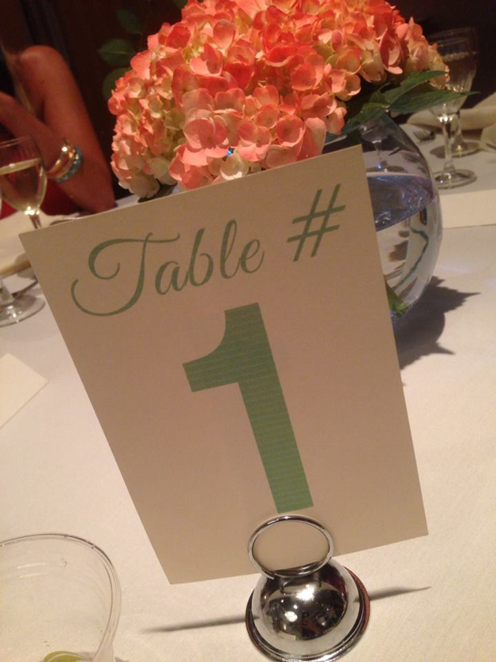 wedding coral and teal table numbers