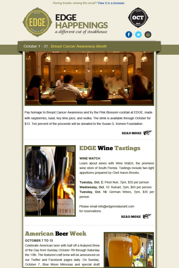 EDGE Steak & Bar Email Newsletter